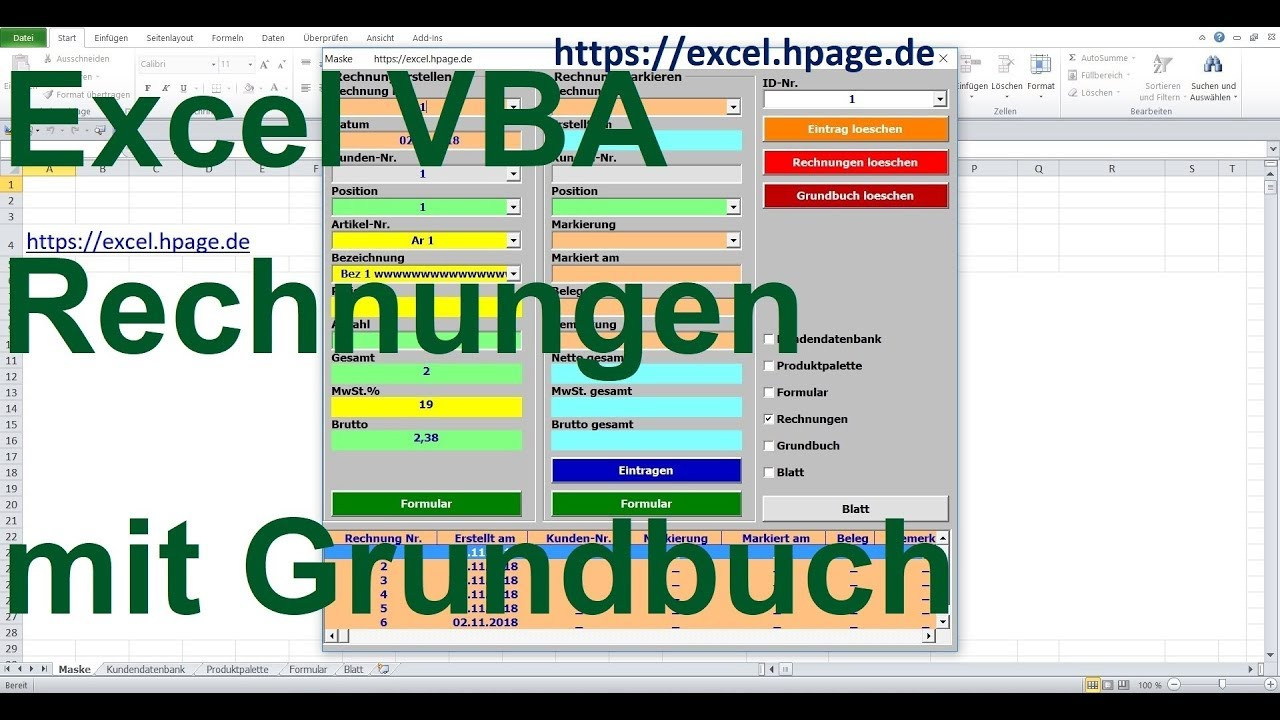 Excel Vba Rechnungsprogramm Mit Grundbuch Kundendatenbank Und