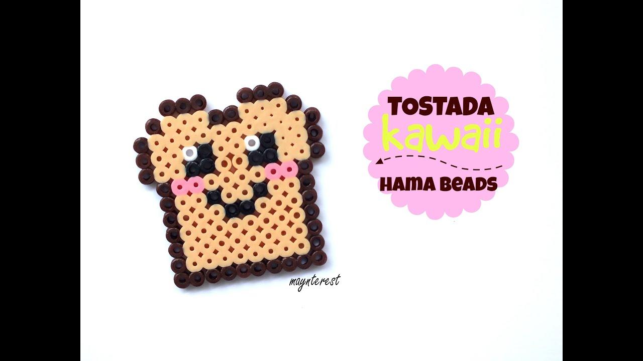 TOSTADA KAWAII de hama beads (perler beads) - YouTube