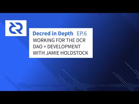 Decred In Depth - Ep. 6 Jamie Holdstock - Working For The DCR DAO + Development