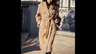 Женское шерстяное пальто vkbn длинное двубортное из 100 шерсти с отложным воротником и длинным