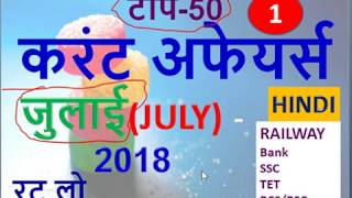 JULY 2018 Current Affairs in Hindi   Important Current Affairs 2018  Latest Current Affairs Quiz