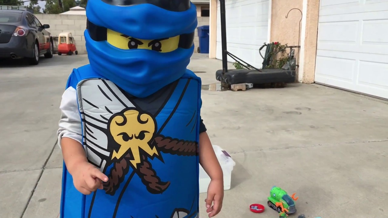 Ninjago Jay Costume playing with Paw Patrol Rocky! - YouTube