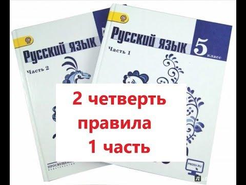 Все правила русского языка за 5 класс 2 четверть. 1 часть