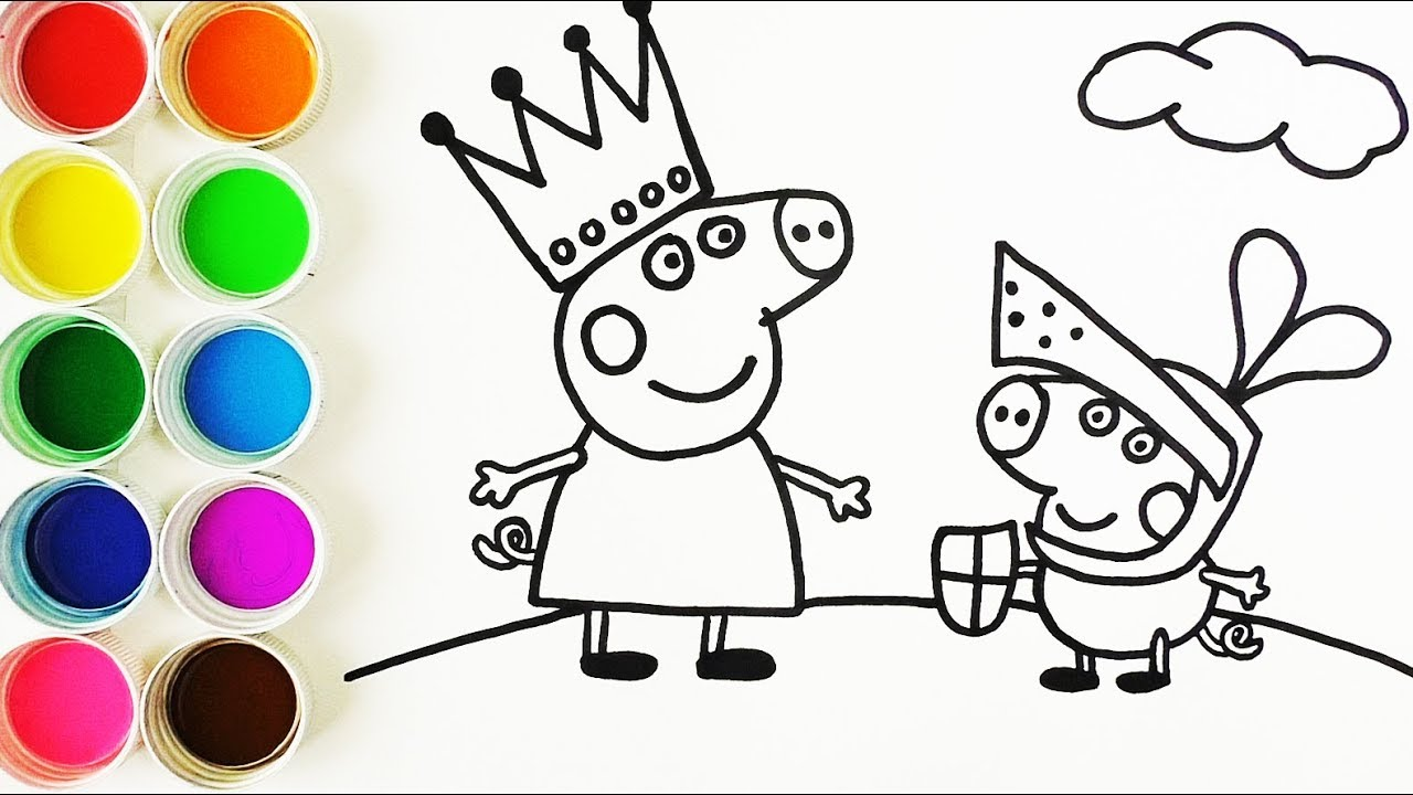 Cómo Dibujar Y Colorear A La Reina Peppa Pig Y Al Caballero George Learn Colors Funkeep