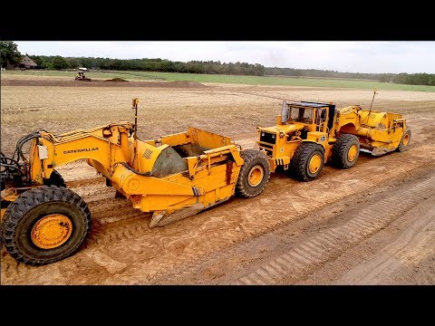 Classic Earthmovers | 2x Caterpillar 830 MB Scraper Tractor [ex US Army] Field Leveling