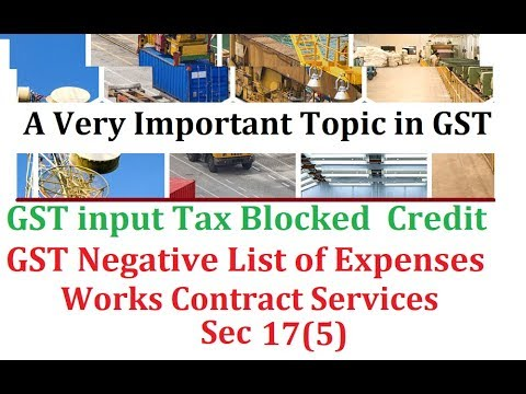 Blocked credits in GST - Section 17 (in Hindi). Input Credit Not Available in GST