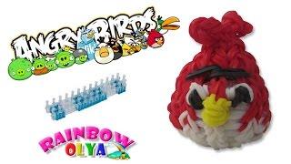 3D РЕД из резинок на станке. Злые птицы | Angry Birds Rainbow Loom Bands.