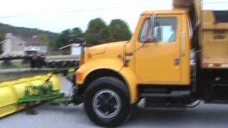 1992 International 4900 Single Axle Dump Truck With 10' Dump Bed And 10' Snow Plow For Sale