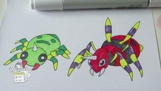 How to draw Pokemon: No.167 Spinarak, No.168 Ariados