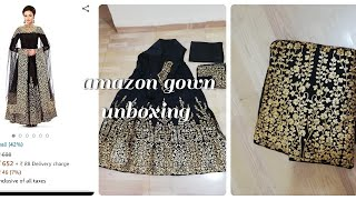 Amazon gown unboxing|black n golden gown|amazon clothing review|online shopping review