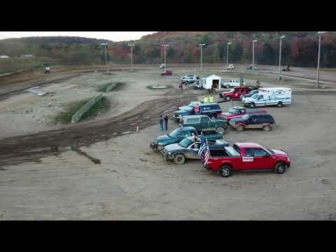 Dog Hollow Speedway - 10/7/17 DRONE FOOTAGE: 410 Sprint Car Heat Race #1