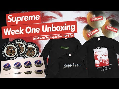 Supreme FW18 Week 1 Unboxing (Madonna Tee, Liquid Tee, 1994 L/S Tee)
