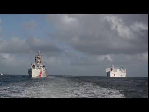 Coast Guard crews escort, provide security for USNS Comfort in San Juan, Puerto Rico
