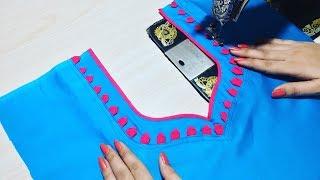 Churidar Neck design cutting and stitching