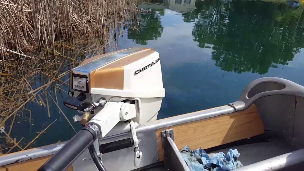 1970 chrysler 7hp outboard motor pond run youtube for Outboard motors for sale nz