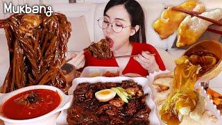 "Dieters, don't watch it!The sound is crazy!!Black Bean Noodles""Jajangmyeon""~Sweet&Sour Pork MUKBANG"