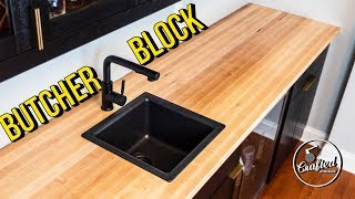 How to build & install BUTCHER BLOCK COUNTERTOPS // Home Bar Pt. 4