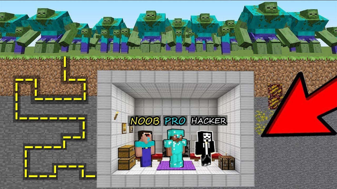 Minecraft Battle: NOOB vs PRO vs HACKER: ZOMBIES ATTACK THE MAZE TO THE SECRET BASE in Minecraft MAP