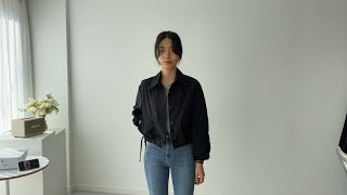 여자봄코디 숏야상점퍼 롤업티셔츠 | 사색 쇼핑몰 촬영 …