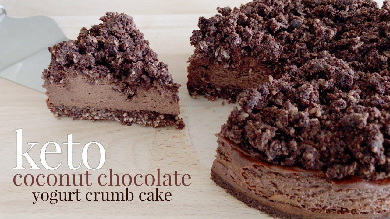 Keto Coconut Chocolate Yogurt Crumb Cake