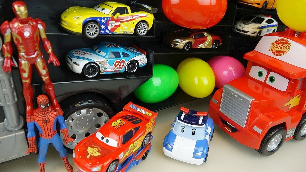 Heroes Cars Truck And Robocar Poli Surprise Eggs Car Toys Play Youtube