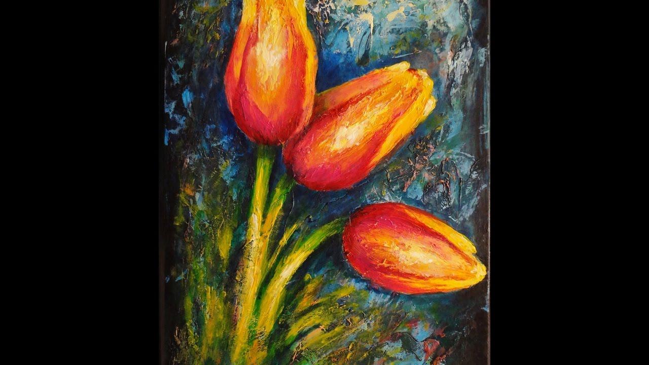 Paso A Paso Pintura En Acrílico Tulipanes Step By Step Acrylic Painting Tulips