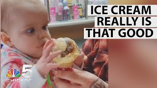 Baby Tries Ice Cream For First Time, Has Most Adorable Reaction | NBC Chicago