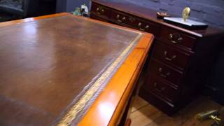 Antique Reproduction Ducal Pine Twin Pedestal Brown Leather Top Writing Desk