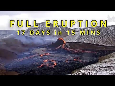 Full Volcanic Eruption 17 Days in 15 Minutes!   Time-Lapse   Geldingadalur Iceland
