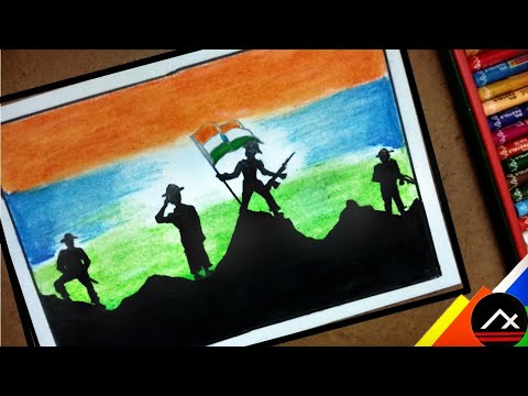 Independence Day Drawing For Kids With Oil Pastels Indian Army Art Xone