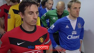 Gary & Phil Neville ignore each other in the tunnel