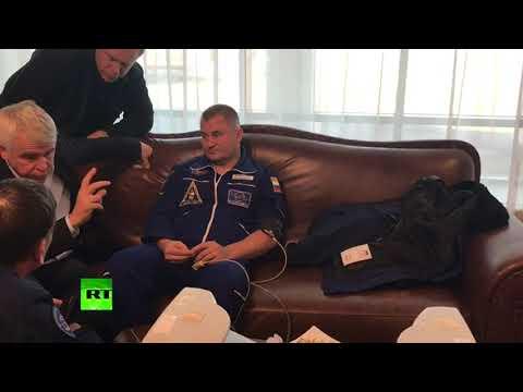 Первое видео с Овчининым и Хейгом после аварийной посадки капсулы корабля «Союз МС-10»
