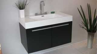 Small Black Wooden Bath Vanity - Fvn8090bw