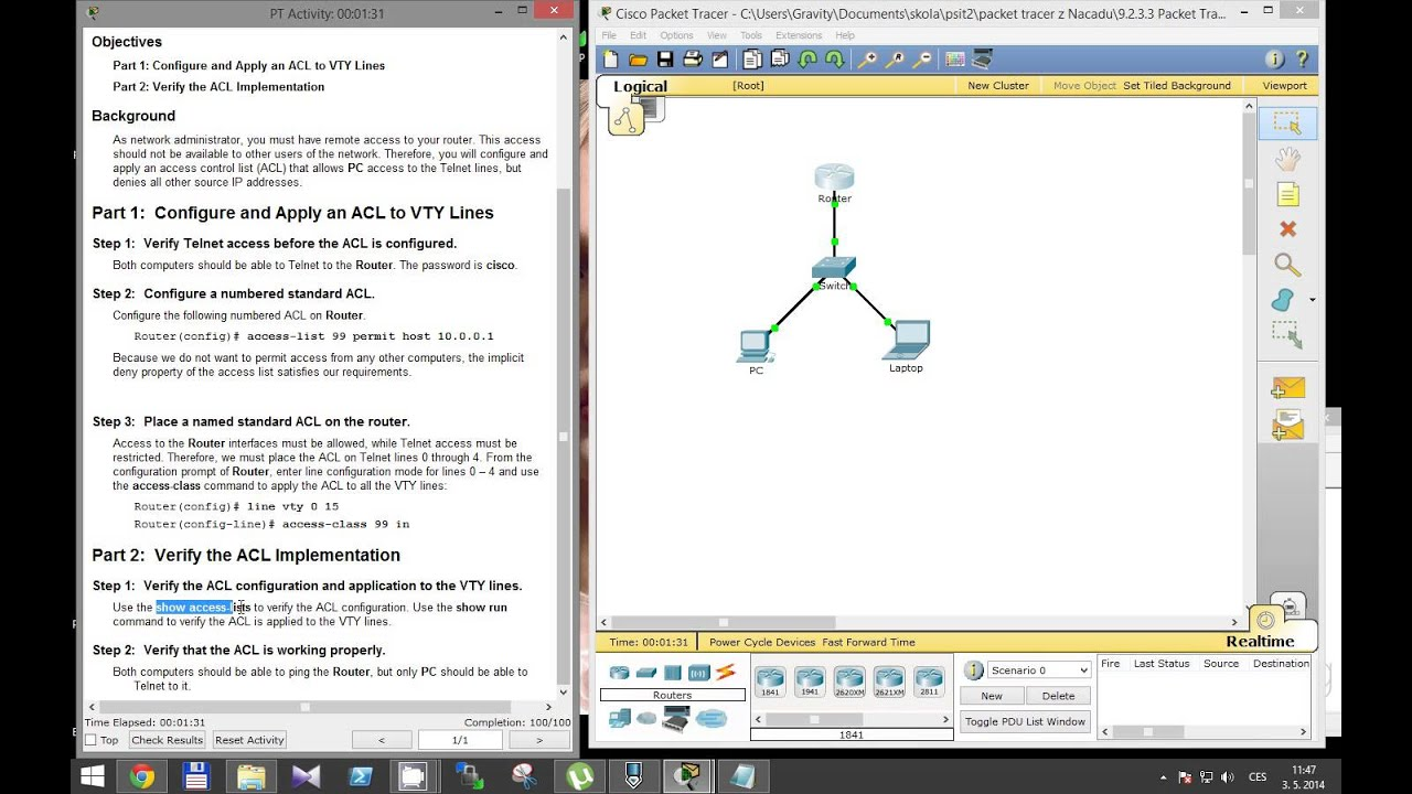 CCNA 2 Packet Tracer Activity 9 2 3 3 solution