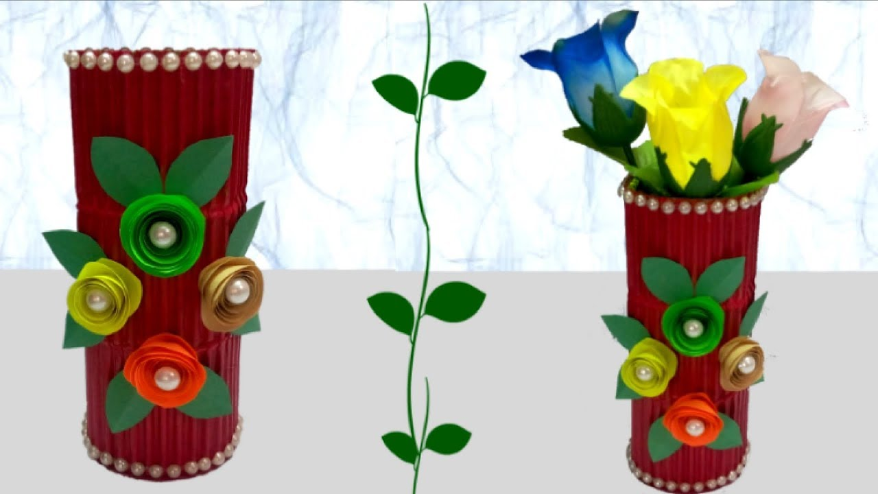 How to make flower vase from cardboard diy flower vase for Waste material flower making