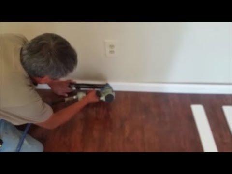 Install Baseboard Trim To Laminate Floor Using Pvc Trim New Installation