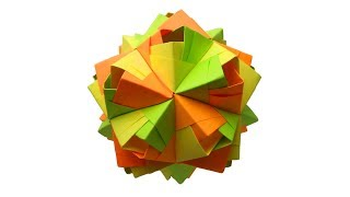 Kusudama origami Новогодний шар из бумаги. Оригами елочное украшение своими руками