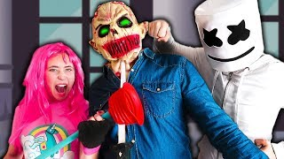 MARSHMELLO AND THE CHILD VS THE MAKIMAN ZOMBIE *Fortnite in real life*