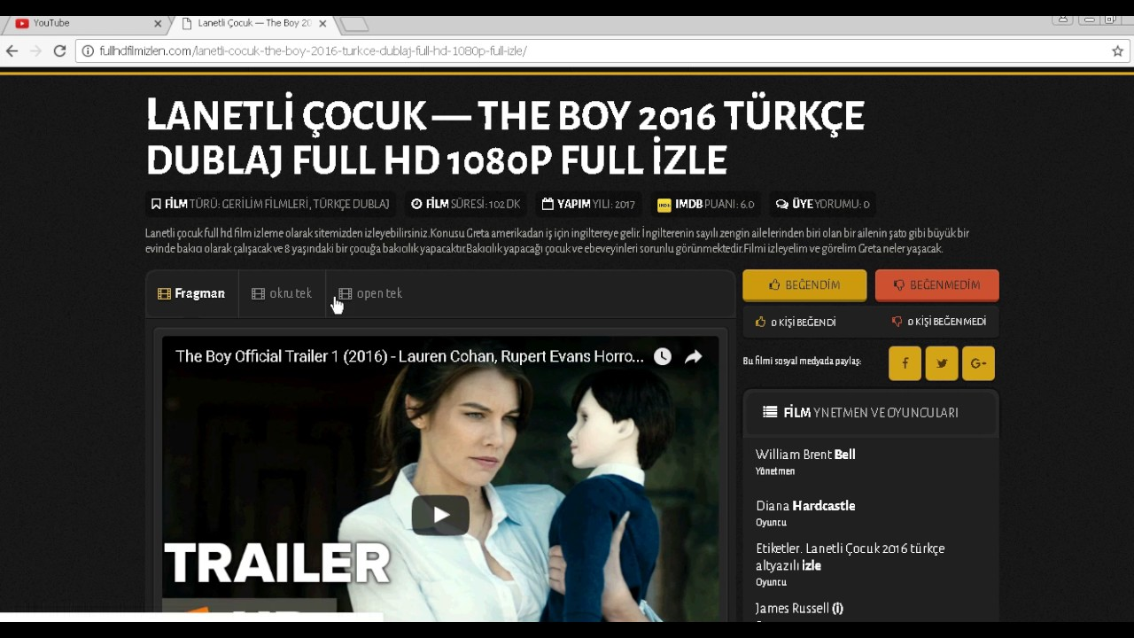 Lanetli Çocuk - The Boy 2016 Full HD Film izle