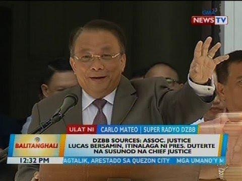 DZBB sources: AJ Lucas Bersamin, itinalaga ni Pres. Duterte na susunod na Chief Justice
