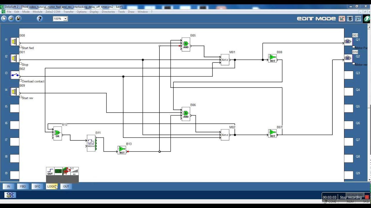 Zelio logic video tutorial #3. Delay off timer. DOL motor ...