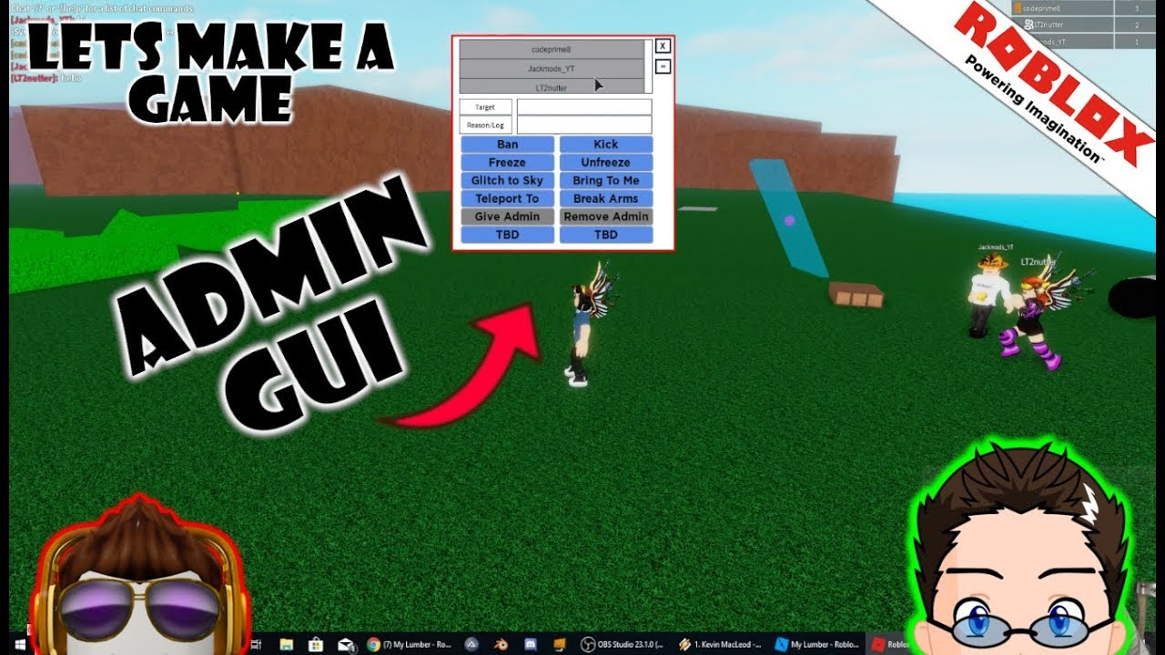 Roblox Lets Make A Game Admin Panel Gui Youtube