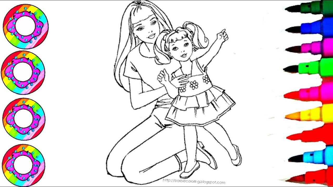 Learn Colors l Disney\'s Barbie and Chelsea on Foot Stool Coloring ...