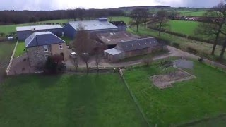 Drone shots of sheep farm in Scotland