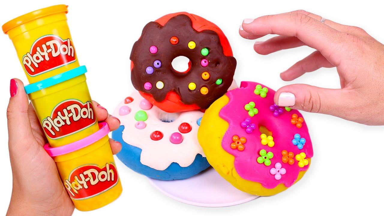 DONUTS de Play Doh con Abalorios 🍩✨🙌 Manualidades Fáciles
