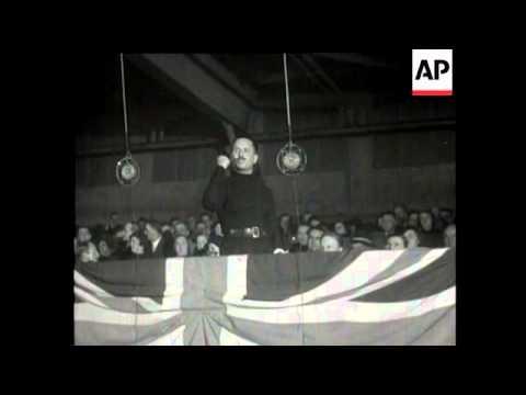 SIR OSWALD MOSELEY - FASCIST STANDARD RAISED IN BRITAIN - 2,000.  FASCISTS ATTEND BELLE VUE - MANCHE