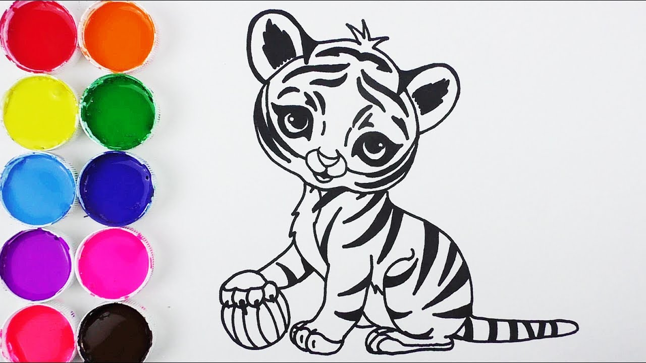 Como Dibujar Y Colorear Un Tigre De Arco Iris Dibujos Para Ninos