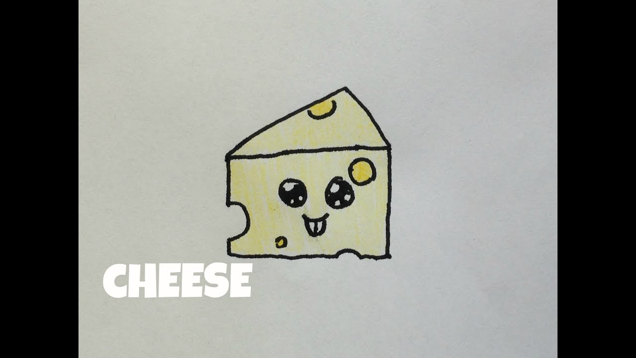Image gallery kawaii cheese for How to draw cheese step by step