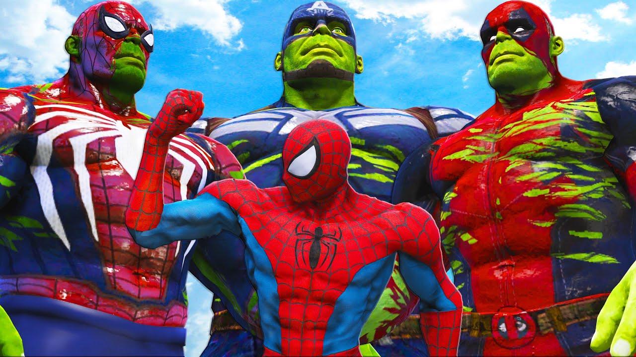 SPIDERMAN MUSCLE vs TEAM HULK MASHUP (Spider-Hulk, Captain Hulk, Hulkpool)