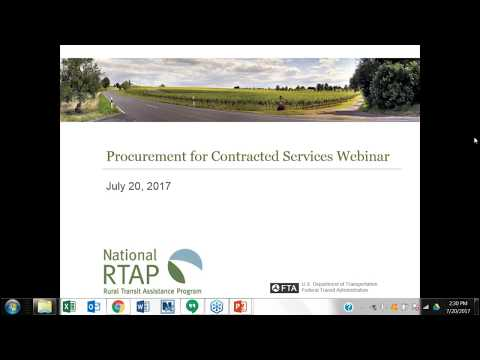 National RTAP 101 Webinar Series: Procurement for Contracted Services